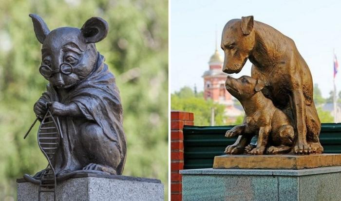 Памятники животным, на которых проводились опыты и эксперименты.